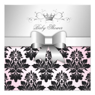 311-Blackberry Precious Pink Damask Baby Shower Custom Announcement