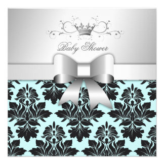 311-Blackberry Sweet Blue Damask Bow | Baby Shower Personalised Invitation
