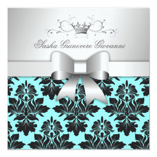 311-Blackberry Turquoise Damask Bow | Sweet 16 Card