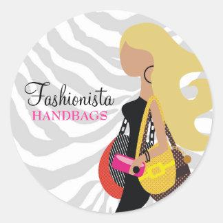 311 Blonde Fashionista Purses Zebra Classic Round Sticker