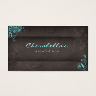 311 Blue Taupe Salon Spa Floral business card