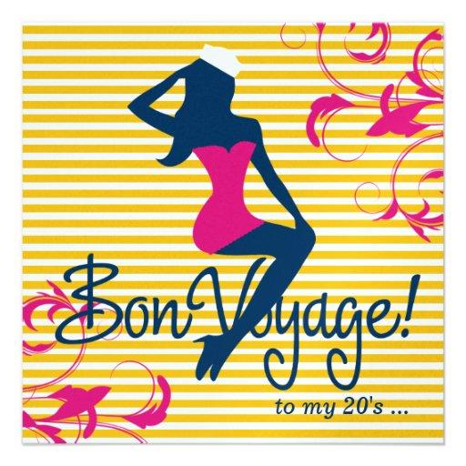 311-Bombshell Silhouette Nautical Blue Pink Swirls Custom Invites