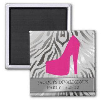 311-Bombshell Silhouette Zebra Hot Pink Heel Square Magnet