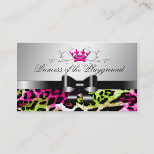 Hair bow business cards zazzle au 311 bow licious hot lime pink leopard business card colourmoves