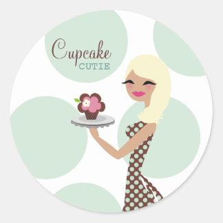 311-Candie Cupcake Cutie_Turquoise Round Sticker