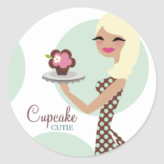 311-Candie the Cupcake Cutie Black Straight Hair Round Sticker