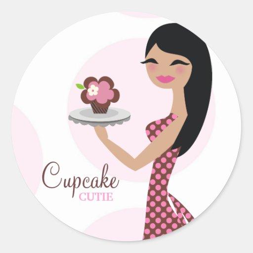 311-Candie the Cupcake Cutie Black Straight Hair Round Stickers