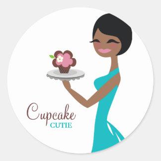 311 Carmella the Cupcake Cutie Gift Box Blue Round Sticker