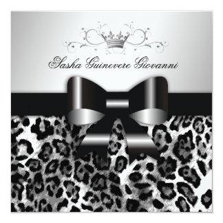 311- Chic Black Leopard Bow  | Sweet 16 13 Cm X 13 Cm Square Invitation Card