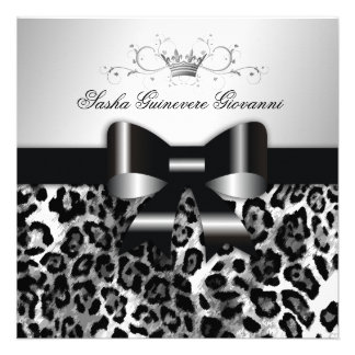 311- Chic Black Leopard Bow Sweet 16 Announcements