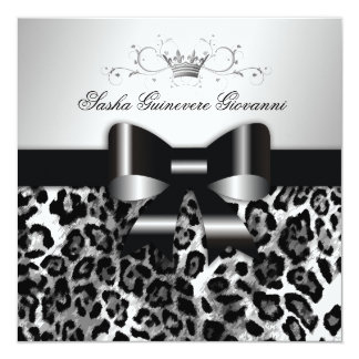 311- Chic Black Leopard Bow  | Sweet 16 Card
