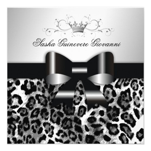 311- Chic Black Leopard Bow  | Sweet 16 Announcements