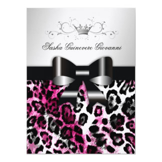 311 Chic Hot Pink Leopard Bow Metallic Card
