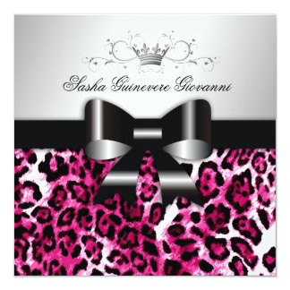 311- Chic Hot Pink Leopard Bow  | Sweet 16 13 Cm X 13 Cm Square Invitation Card