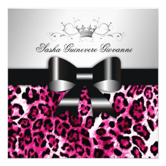 311- Chic Hot Pink Leopard Bow Sweet 16 Announcement