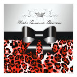 311- Chic Hot Rouge Leopard Bow  | Sweet 16 13 Cm X 13 Cm Square Invitation Card