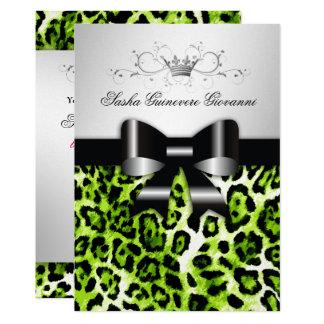 311 Chic Yellow Lime Bow Metallic Silver 13 Cm X 18 Cm Invitation Card