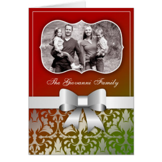 311-Christmas Card Present with Silver Bow