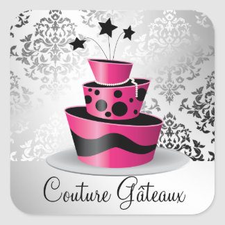 311 Couture Gâteaux Hot Pink Square Sticker