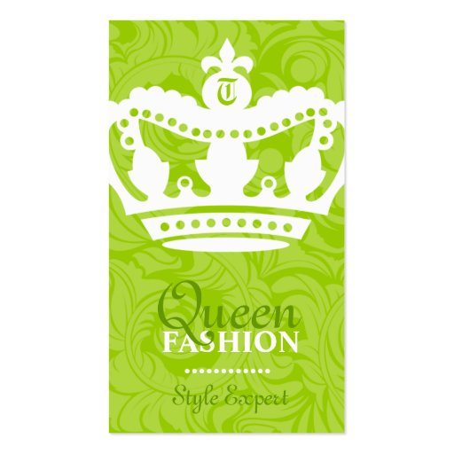 311-Crown Couture Monogram Lime Business Card Template