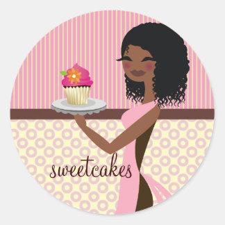 311 Cupcake Cutie - African American Pink Round Sticker