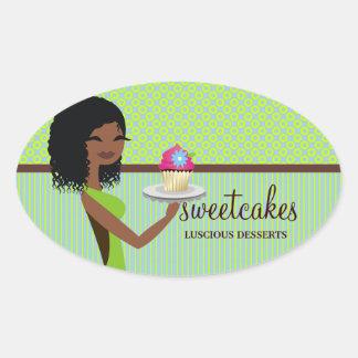 311 Cupcake Cutie Blue Green African American Oval Sticker