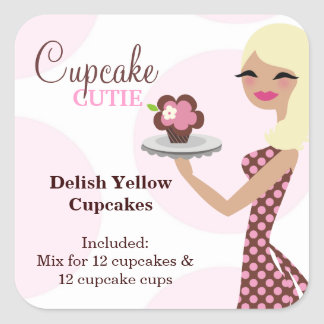 311 Cupcake Cutie Light Blond Labael Square Sticker