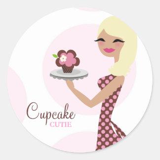 311-Cupcake Cutie Light Blond Wavy 31Sticker Round Sticker