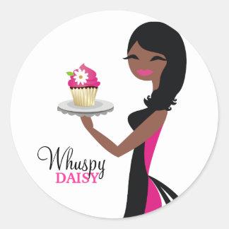 311 Daisy Cupcake Cutie African American Round Sticker