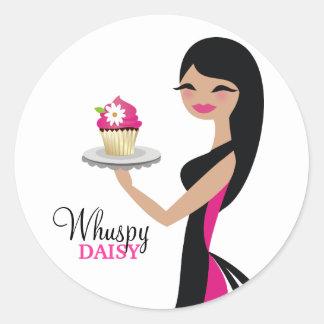 311-Daisy Cupcake Cutie | Straight Brunette Round Sticker