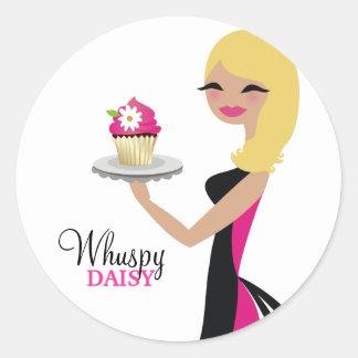 311 Daisy Cupcake Cutie | Wavy Blonde Round Sticker