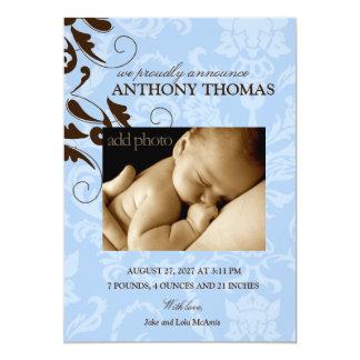 311-Damask Baby Boy Card