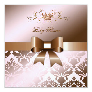 311 Damask Shimmer Bow Brown Pink Baby Shower 13 Cm X 13 Cm Square Invitation Card