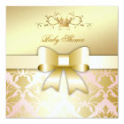 311 Damask Shimmer Bow Champagne Pink Baby Shower Card