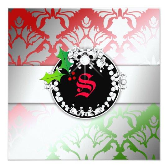311-Damask Shimmer Christmas Invite Green Red