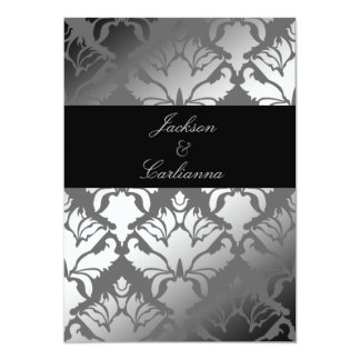 "311-Damask Shimmer Gray Storm Invite 5"" X 7"" Invitation Card"