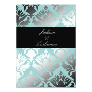 "311-Damask Shimmer Mint Invite 5"" X 7"" Invitation Card"