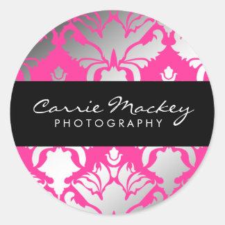311-Damask Shimmer Pink Flame Sticker