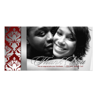 311-Damask Shimmer Thank You Silver Red Photo Card