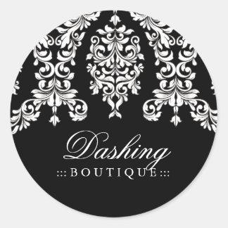 311 Dashing Damask Black White Classic Round Sticker