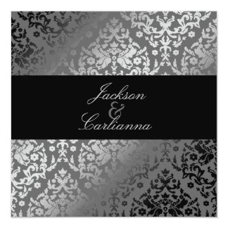 311 Dazzling Damask Gray 5.25x5.25 Square Paper Invitation Card