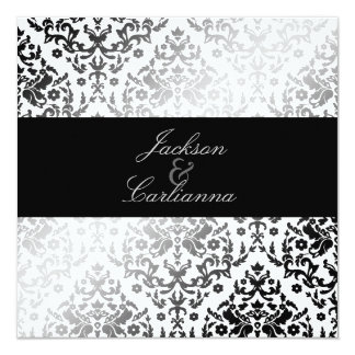 311-Dazzling Damask Polar Bear 5.25x5.25 Square Paper Invitation Card