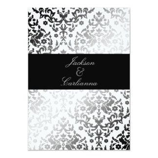 311-Dazzling Damask Polar Bear 5x7 Paper Invitation Card