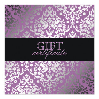 311 Dazzling Damask Purple Plush Gift Certificate Custom Invite