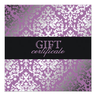 311 Dazzling Damask Purple Plush Gift Certificate 5.25x5.25 Square Paper Invitation Card