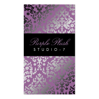 311-Dazzling Damask Purple Plush Pack Of Standard Business Cards