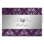 311-Dazzling Damask Silver Thank you Eggplant Note Card