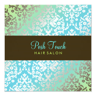 311 Dazzling Damask Turquoise & Lime 13 Cm X 13 Cm Square Invitation Card