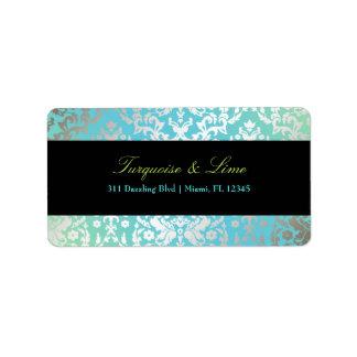 311-Dazzling Damask Turquoise & Lime Black Label