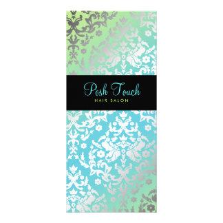 311 Dazzling Damask Turquoise & Lime Black Rack Card Design